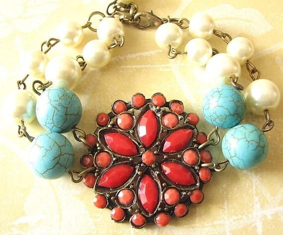 Charm Bracelet Red Coral Bracelet Coral Jewelry Flower Bracelet Turquoise Jewelry Bridesmaid Jewelry