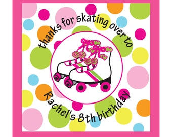 Personalized Stickers, Roller Skate,Birthday,rollerskate Favor stickers, Personalized Stickers Set of 40