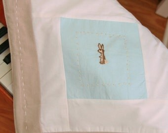 SALE Little boy bunny in blue white and khaki mini blanket ready to be personalized for your little boy