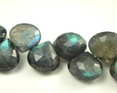 Labradorite Heart Briolette, Faceted Beads Drops, 3 MATCHED PAIRs Beads 7-8mm, 6 pcs