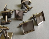16mm Gunmetal Black Brass Square Cufflink Blank with Glass tile inserts