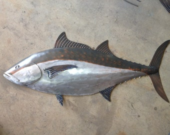 Blue Fin Tuna Fish 36in Handmade Metal Sculpture Tropical Beach Coastal Wall Art