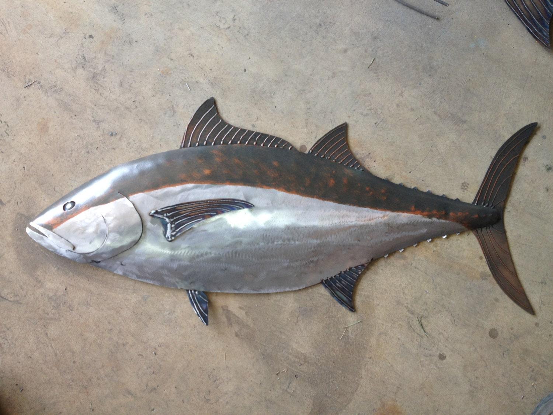 Blue fin tuna fish handmade metal sculpture tropical beach for Metal fish art
