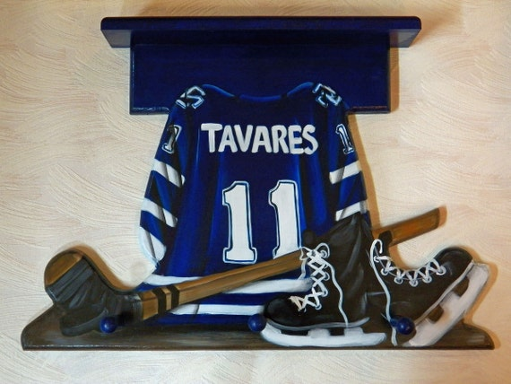 custom sports jersey wall hanging with 3 pegs and shelf with. Black Bedroom Furniture Sets. Home Design Ideas