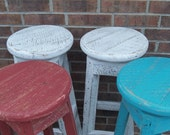 """YOUR Custom Reclaimed Rustic Round Swivel and Colored Barn Wood 18""""-36"""" Bar Stools with FREE SHIPPING. RBSSC148"""