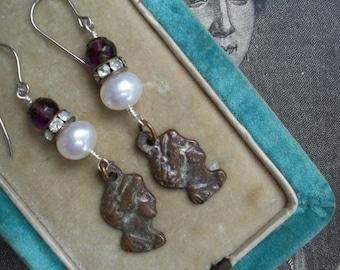 The Secret Keepers - Vintage Milagro Assemblage Earrings