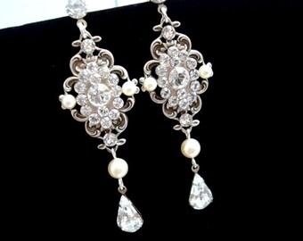 Crystal Bridal earrings, Pearl wedding Earrings, Chandelier earrings, Vintage style earrings, Wedding jewelry, Swarovski crystal earrings