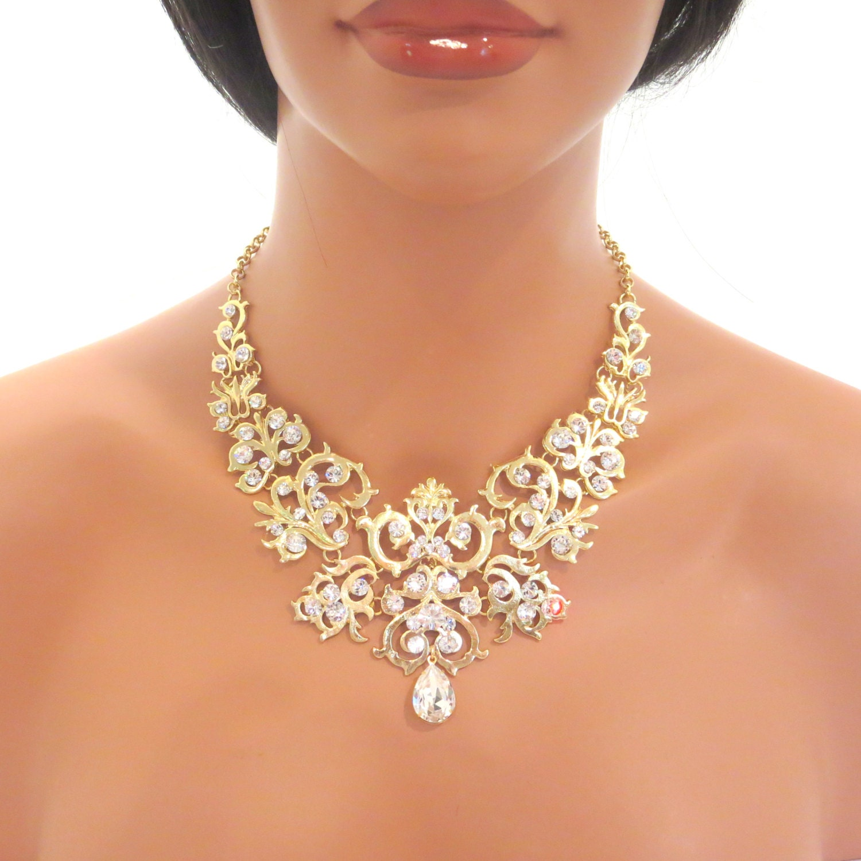 gold statement necklace bridal statement necklace wedding