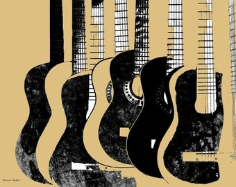 Guitar Art, Music Stringed Instrument, Black & Tan, Abstract Realism, Musician, Digital Print, Wall Hanging, Home Decor, Giclee Print 8 x 10
