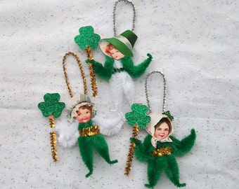 Chenille Ornaments St. Patrick's Day Girls Children, Lucky Shamrocks (93p)