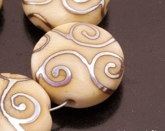 SRA Handmade Lampwork Beads Artisan Metallic Glass Bead Set Ivory Lampwork Beads Beige Lentil Bead Set Flat Glass Beads Heather Behrendt
