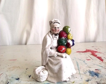 60s Royal Doulton Old Balloon Seller Vintage Plaster Statuette Figurine