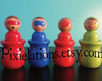 Super Heros Matching Game, Hand Painted Wooden Peg People Dolls