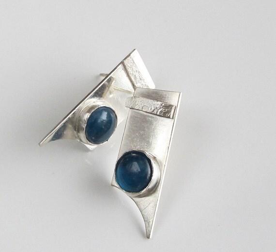 Blue Stud Drop Earrings on Sterling Silver