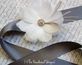 Grey Ivory Feather Bridal Sash - RIVIERA - Bridal or Bridesmaids Sash in Cream and Grey - Made to Order