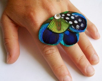 Peacock Feather Cocktail Ring - ELLIE RING - Made to Order