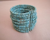 NEW MARKDOWN: Gypsy Bracelet -- Turquoise Seed Bead Cuff Stacked Bracelet