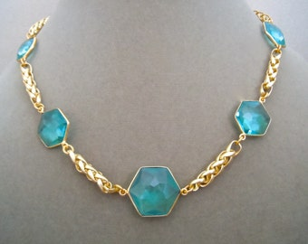 NEW MARKDOWN: Olivia -- Aqua Blue Quartz Gemstone Connector Necklace