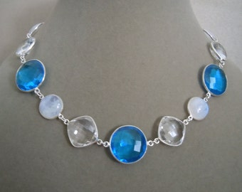 Iceland -- One of a Kind -- Rainbow Moonstone, Blue Quartz, and Rock Crystal Gemstone Connector Necklace
