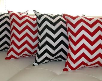 Chevron Throw Pillow  - Zig Zag Chevron Lipstick Red and Zig Zag Chevron Black Decorative Throw Pillows - 4 Pack -- Free Shipping