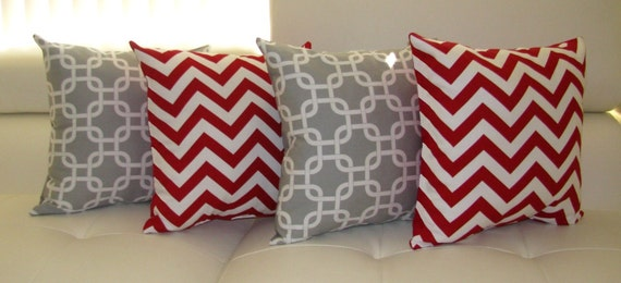 Throw Pillows Girly : Modern Grey and Red Throw Pillow Gotcha Storm Grey and Zig