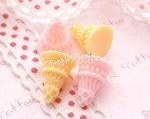 Mini Cone Miniature Fake Faux Deco Decoden Kawaii Resin Cabochon Set of 6pcs