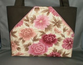 Fabric Tote Bag - Purse - Dusty Rose - Sassy Pockets - Floral - Pink, Raspberry, Chocolate Brown