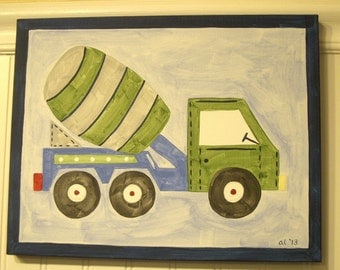 Boys cement mixer canvas painting 11 x 14 Construction truck Children kid room decor Baby nursery wall art Original painted artwork Blue