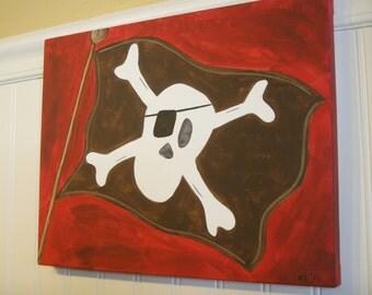 Pirate flag canvas painting 11 x 14 Jolly Roger Original hand painted Skull Boy room decor Baby shower nursery Children wall art Kid bedroom