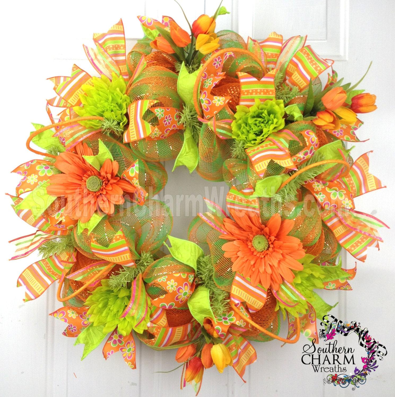 Deco Mesh Summer Wreath Orange Lime Green Dahlia Daisy Door