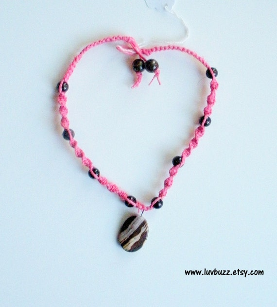 Pink Hemp Macrame Necklace with Cappuccino Jasper Pendant, ready to ship.