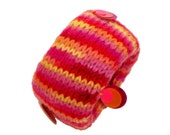 Hand Knit Bracelet, Bangle, Cuff in Bright Tutti Fruity Colors