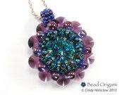 Purple and Green Crystal Dahlia Beaded Pendant
