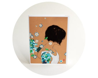 Lovely Floral Greeting Card - One Week Till Spring - Sweet Floral Art Card with Envelope