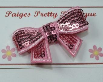 "2"" Pink Sequin Hair Bow-Toddler Hair Clip-Baby Hair Clip-Alligator Clip"