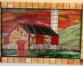 CLEARANCE SALE:  Mosaic, Stained Glass, Stone, Red Barn, Sunset, Landscape, Country, Silo