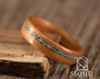 Bentwood Ring - Cherry Wooden Ring with Offset Turquoise Inlay - Handcrafted Wood Wedding Ring - Custom Made
