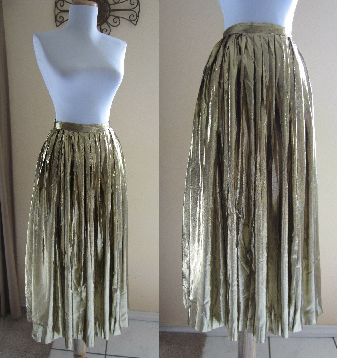 vintage 1980s gold lame pleated midi skirt by fabvintage