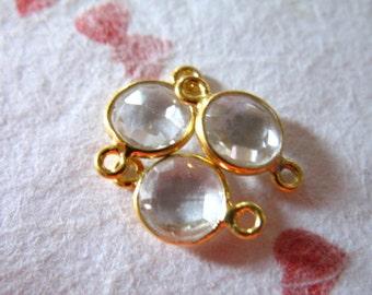 Shop Sale.. 1 10 25 pc, Gemstone Connectors Links - Bezel Set ROCK CRYSTAL Quartz, 24k Gold Vermeil, 12x7 mm, brides bridal mini clear gcl5