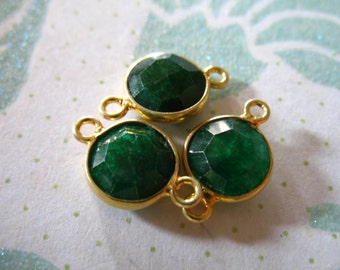 Shop Sale - 1 10 50 pcs, Gemstone Connectors Links, Bezel Set Emerald, 15x9 mm, 24k Gold Vermeil, may birthstone kelly green gcl10 gc ll