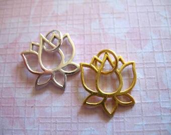 Shop Sale.. 1 pc LOTUS FLOWER Charms Pendants, 24k Gold Vermeil or Sterling Silver, Lotus OUTLINE, 16.5x16 mm, Artisan, yoga buddha art only