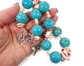 SALE, Mermaid Necklace, Turquoise Howlite, Shell Pearl, Beaded, Statement, Boho Jewelry, Beach Necklace, Seashells, Bohemian, Cruise, Big