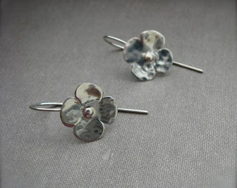 Tiny Blossom in sterling silver - hanging or post