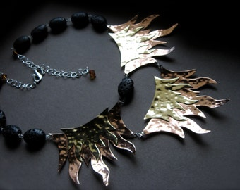 Lava Rock and Flame statement necklace