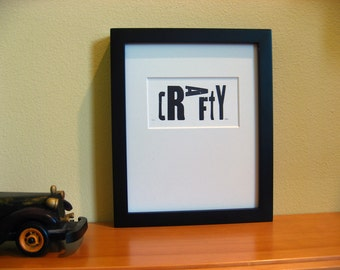 Letterpress Print: CRAFTY, Wood Type Letters, Black and White, Artsy Print, Craft Print, Wall Decor