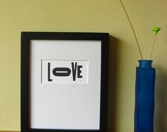 Letterpress Print: LOVE, Matted Art Print, Typographical Print, Valentines Print, Amour Print, Wall Decor, Home Decor