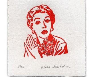 Linocut Print: VINTAGE LADY. Red. Matted. Art Print. Wall Decor. Girl Print. Home Decor. Wall Art. Wall Print.