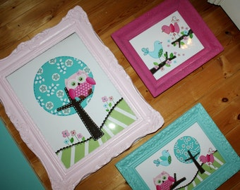 Set of 1, 11x14 and 2, 8x10 Sweet Little Owl Girls Bedroom Baby Nursery ART PRINTS - Frames NOT Included