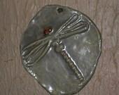 Dragonfly Indoor/Outdoor Wall Hanging jade/brown/clay OOAK