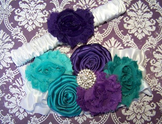 Items Similar To Purple And Teal Wedding Garter Dark